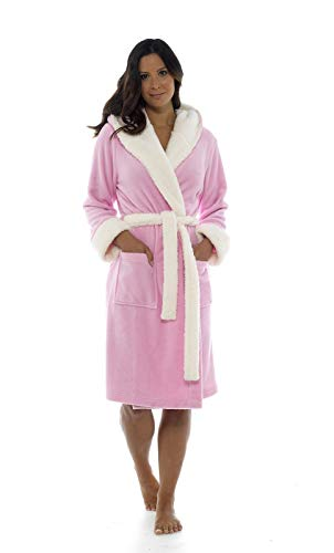 Ladies Girls Unicorn 3D Hooded Pink Dressing Gown Sherpa Lining ... b0e0812c6