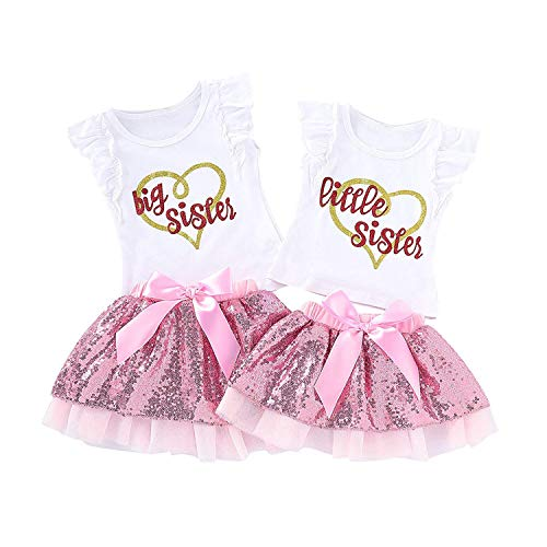 80be792b80a3 HESHENG Baby Girl Sister Matching Outfits Little or Big T-Shirt Tops +  Sequin Bowknot Tutu Dress Clothes Skirt Set